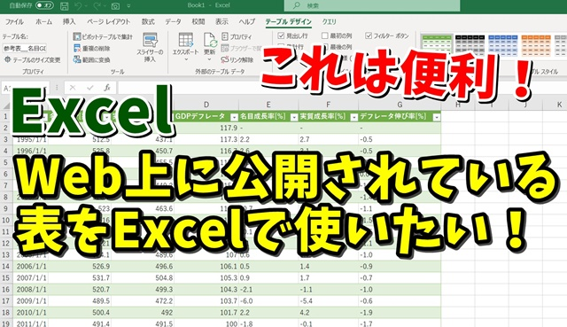 Excel エクセル Webから 表 取り込み