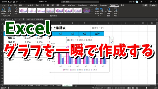 Excel グラフ作成 ショートカットキー 集合縦棒